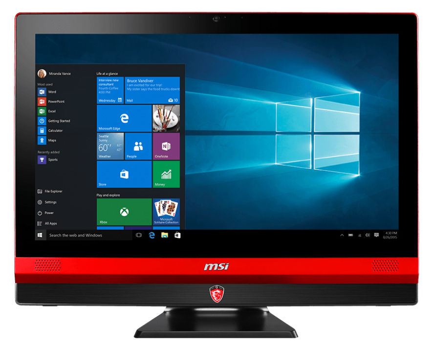 Моноблок MSI Gaming 24 6QE-012RU, Intel Core i5 6300HQ, 8Гб, 1000Гб, 128Гб SSD,  nVIDIA GeForce GTX 960M - 4096 Мб, DVD-RW, Windows 10, черный и красный [9s6-aea111-012]