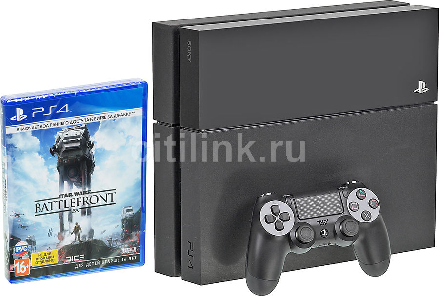 Игровая консоль SONY PlayStation 4 с игрой Star Wars Battlefront,  CUH-1208B, черный
