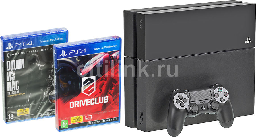Игровая консоль SONY PlayStation 4 с играми Driver Club и The Last of Us,  PS719853947, черный