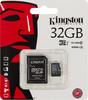 Карта памяти microSDHC KINGSTON 32 ГБ, 45 МБ/с, Class 10, SDC10G2/32GB,  1 шт., переходник SD вид 1