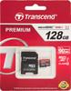 Карта памяти microSDXC UHS-I TRANSCEND Premium 128 ГБ, 60 МБ/с, 400X, Class 10, TS128GUSDU1,  1 шт., переходник SD вид 1