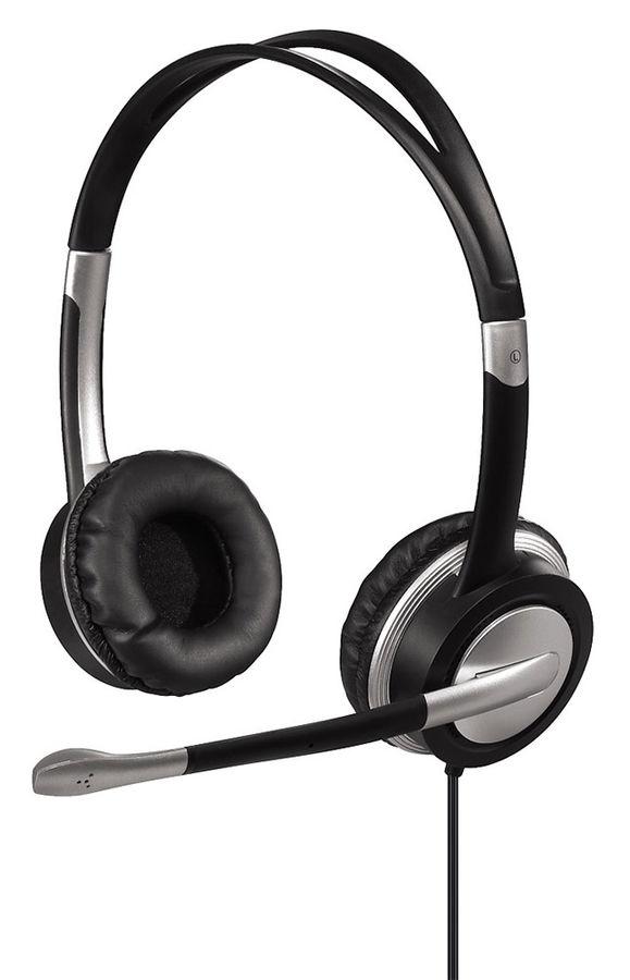 Наушники с микрофоном HAMA HS-35,  накладные, черный  / серый [00053993]