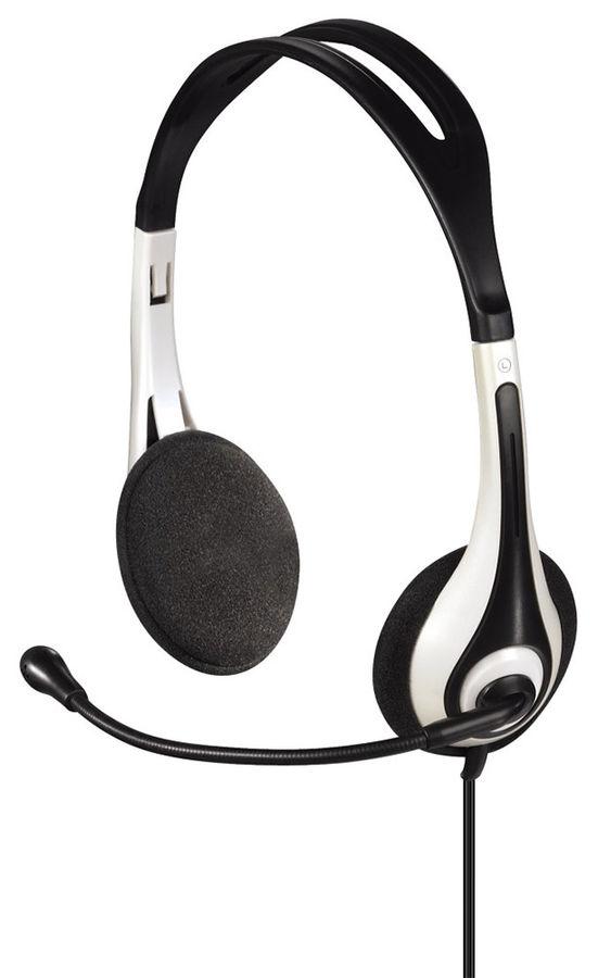 Наушники с микрофоном HAMA HS-250,  накладные, черный  / белый [00053995]