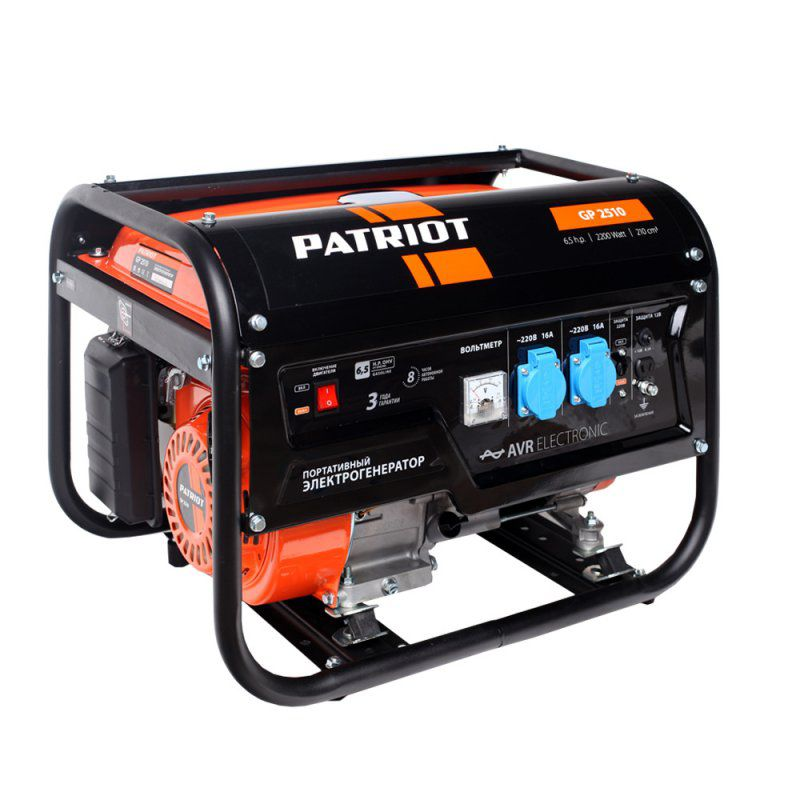 Бензиновый генератор PATRIOT GP 2510, 220 В, 2.2кВт [474101530] снегоуборщик patriot ps 710 е