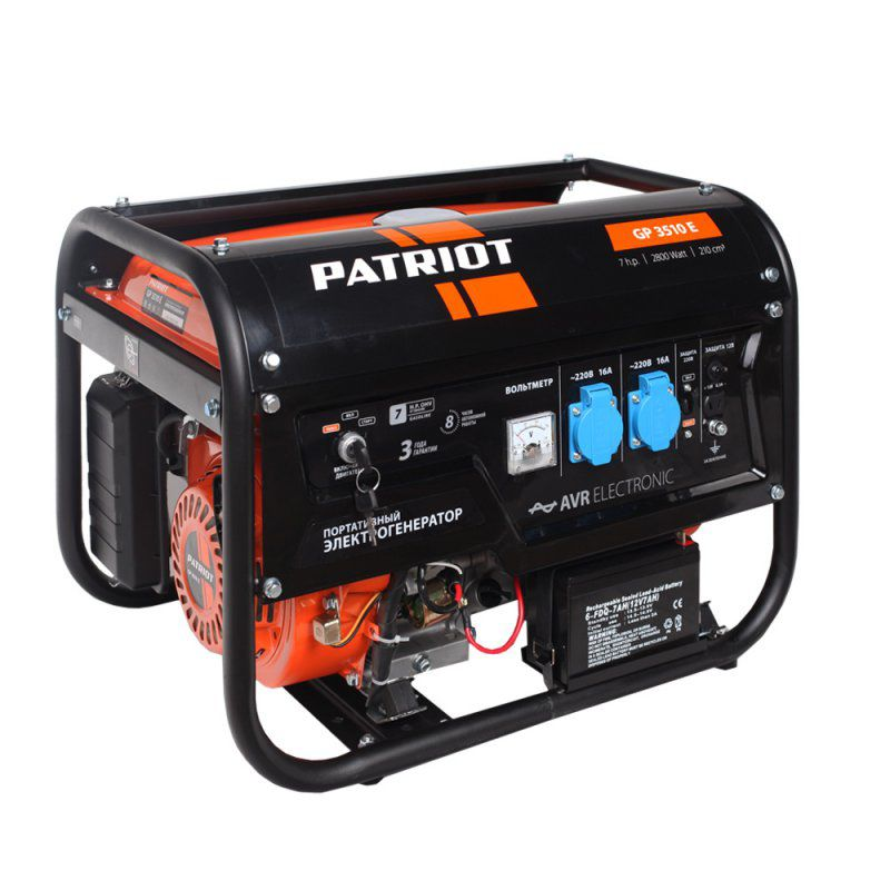 Бензиновый генератор PATRIOT GP 3510E, 220 В, 2.8кВт [474101540] генератор бензиновый patriot gp 3510e