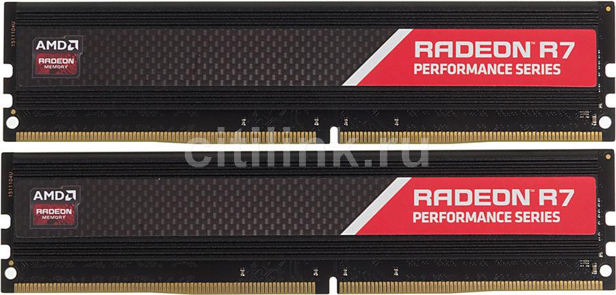 Модуль памяти AMD Radeon R7 Performance Series R7416G2133U2K DDR4 -  2x 8Гб 2133, DIMM,  Ret