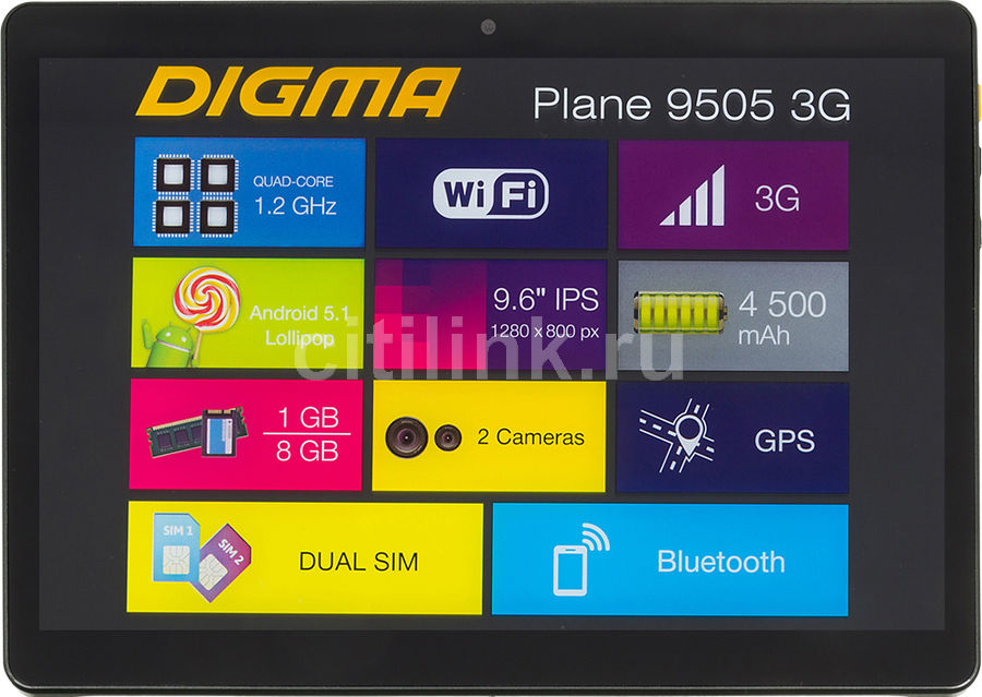 Планшет DIGMA Plane 9505 3G, 1GB, 8GB, 3G, Android 5.1 графит [ps9034mg] планшет digma plane 9507m 3g black ps9079mg mt8321 1 2 ghz 1024mb 8gb 3g wi fi bluetooth cam 9 6 1280x800 android 390148
