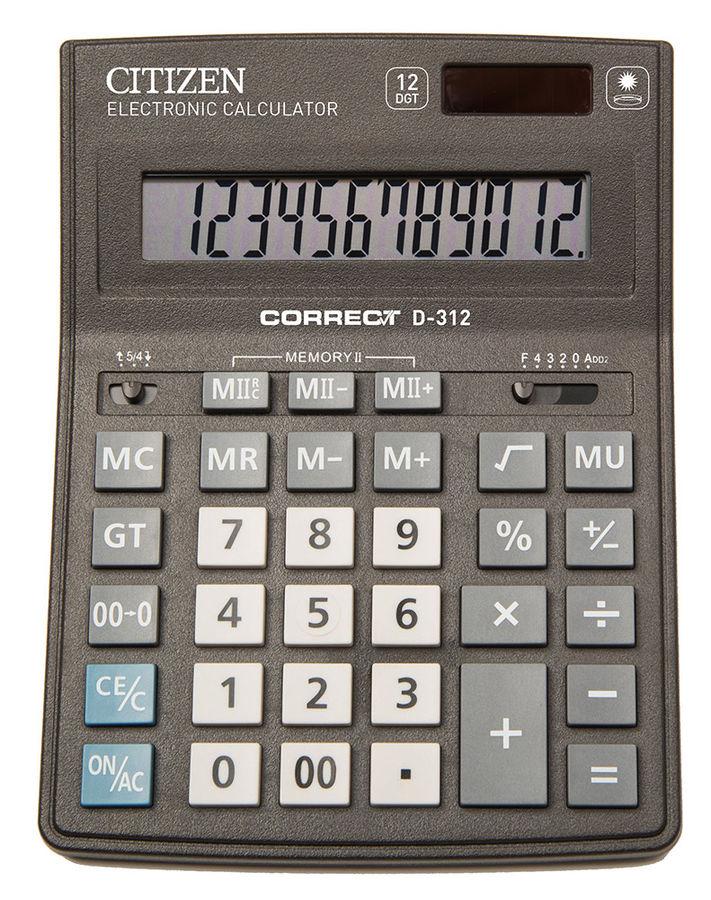Калькулятор CITIZEN Correct,  D-312,  12-разрядный, черный