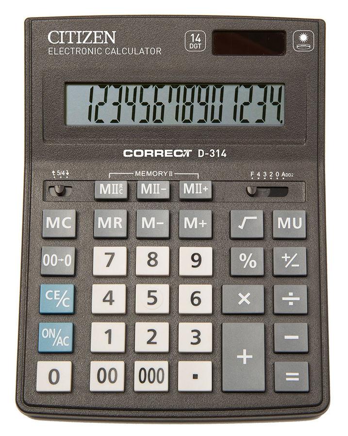 Калькулятор CITIZEN Correct,  D-314,  14-разрядный, черный