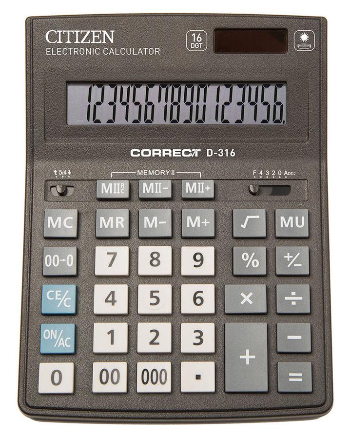 Калькулятор CITIZEN Correct,  D-316,  16-разрядный, черный