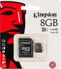 Карта памяти microSDHC UHS-I KINGSTON 8 ГБ, 45 МБ/с, Class 10, SDC10G2/8GB,  1 шт., переходник SD вид 1