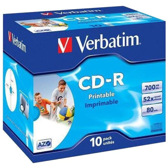 Оптический диск CD-R VERBATIM 700Мб 52x, 10шт., jewel case, printable [43325] verbatim music cd r в киеве