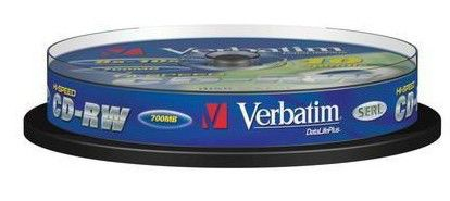 Оптический диск CD-RW VERBATIM 700Мб 10x, 10шт., cake box [43480] dvd r vs 4 7gb 16х 10шт cake box