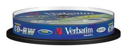 Оптический диск CD-RW VERBATIM 700Мб 12x, 10шт., cake box [43480]