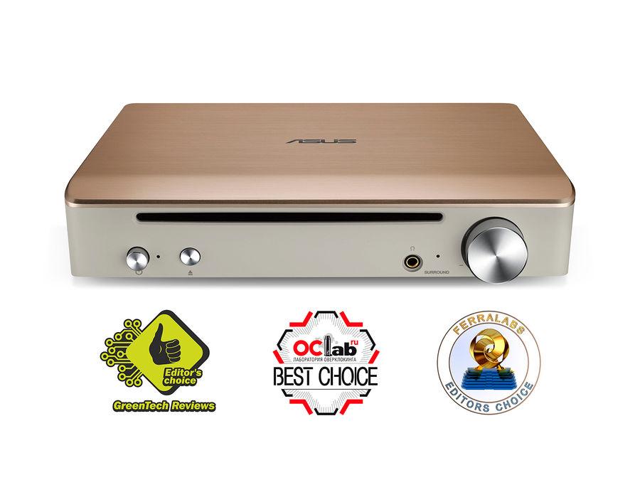 Оптический привод Blu-Ray ASUS SBW-S1 PRO, внешний, USB, золотистый,  Ret [sbw-s1 pro/gold/g/as]