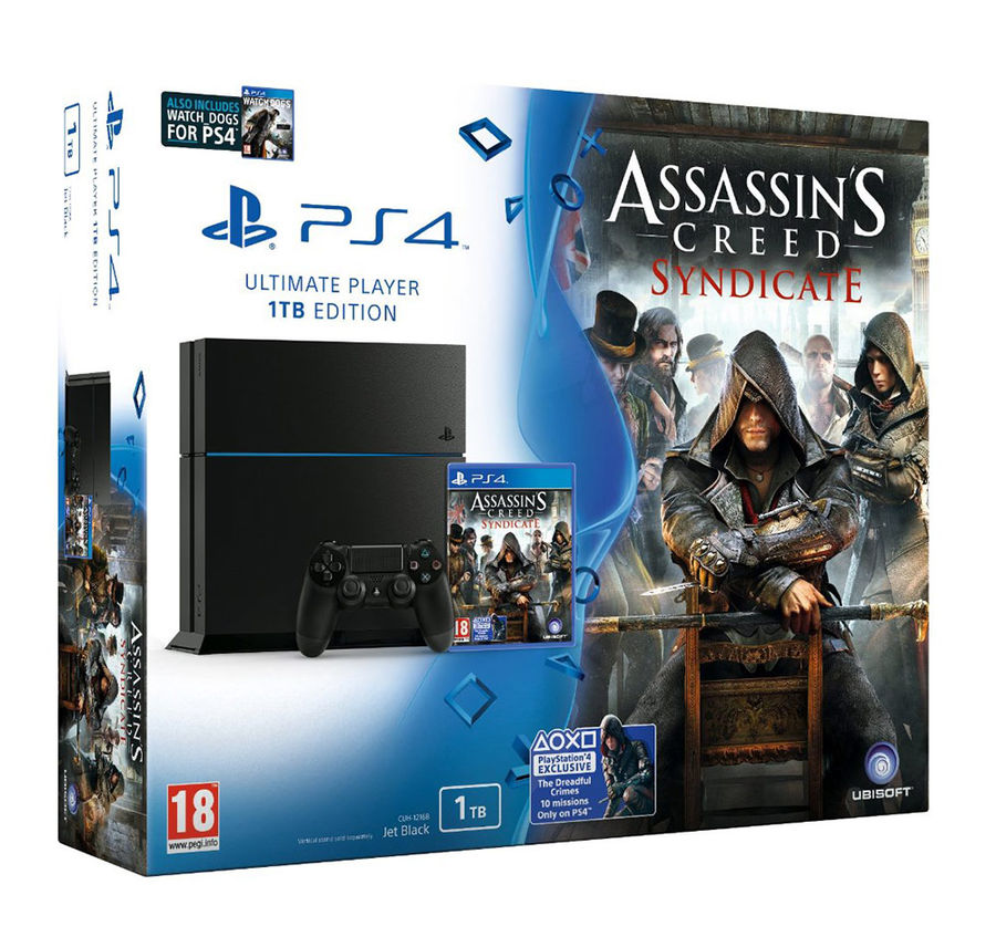 Игровая консоль SONY PlayStation 4 с играми Assassins: Creed Синдикат и Watchdogs,  CUH-1208B, черный
