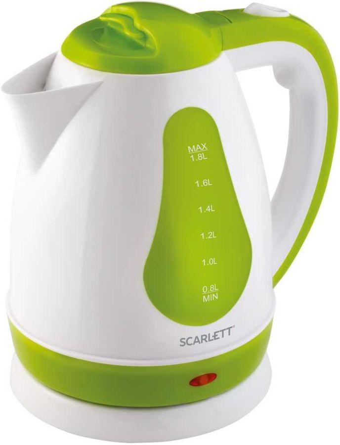 Чайник электрический SCARLETT SC-EK18P30, 1700Вт, белый и зеленый
