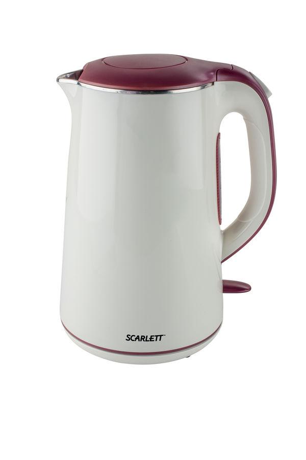 Чайник электрический SCARLETT SC-EK21S06, 2200Вт, белый и бордовый