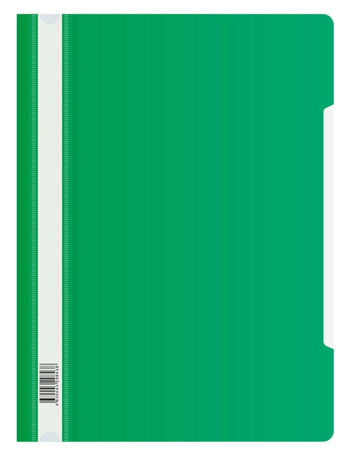 Папка-скоросшиватель Бюрократ Люкс -PSL20GRN A4 прозрач.верх.лист пластик зеленый 0.14/0.18