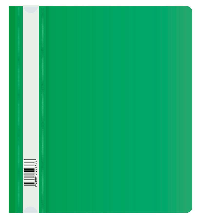 Папка-скоросшиватель Бюрократ Люкс -PSL20A5GRN A5 прозрач.верх.лист пластик зеленый 0.14/0.18