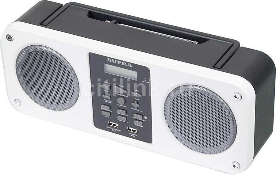 Аудиомагнитола SUPRA BB-M102UB,  белый и черный