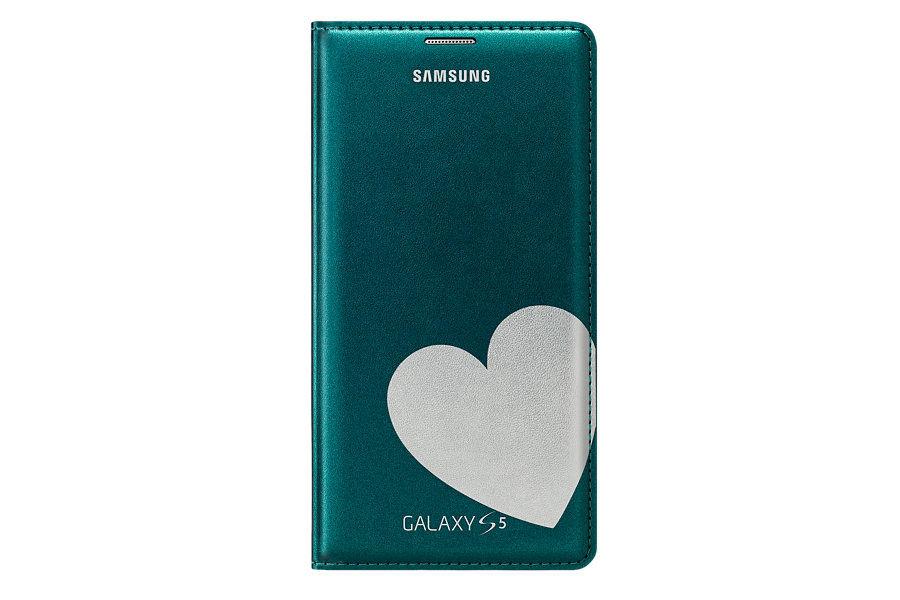 Чехол (флип-кейс) SAMSUNG Flip Wallet Moschino Heart, для Samsung Galaxy S5, зеленый [ef-wg900rgegru]