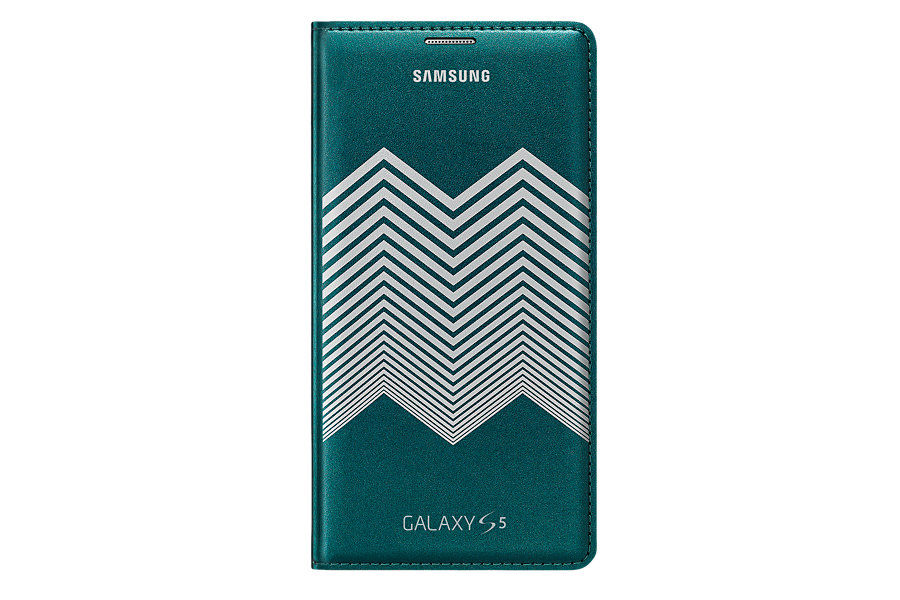 Чехол (флип-кейс) SAMSUNG Flip Wallet Nicholas Kirkwood Shevron, для Samsung Galaxy S5, зеленый [ef-wg900rkegru]