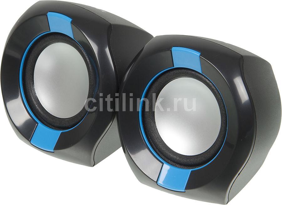 Колонки OKLICK OK-203,  2.0,  черный/ синий [ok-203 black]