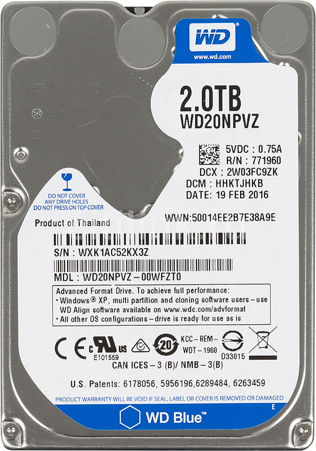 Жесткий диск WD Blue WD20NPVZ, 2Тб, HDD, SATA III, 2.5 корпус для hdd orico 9528u3 2 3 5 ii iii hdd hd 20 usb3 0 5