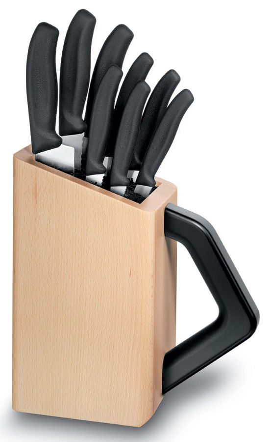Набор ножей кухон. Victorinox Swiss Classic (6.7173.8) компл.:8шт с подставкой черный подар.коробка
