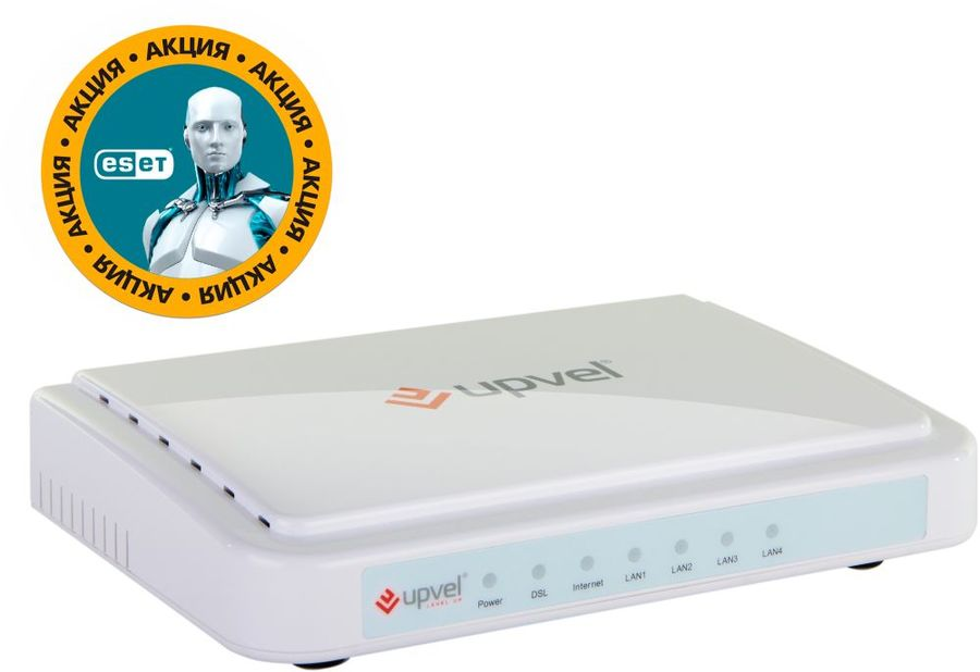Маршрутизатор UPVEL UR-104AN + ПОДАРОК ESET NOD32 5 ПК 3 мес,  ADSL2+,  белый [ur-104an_citilink]