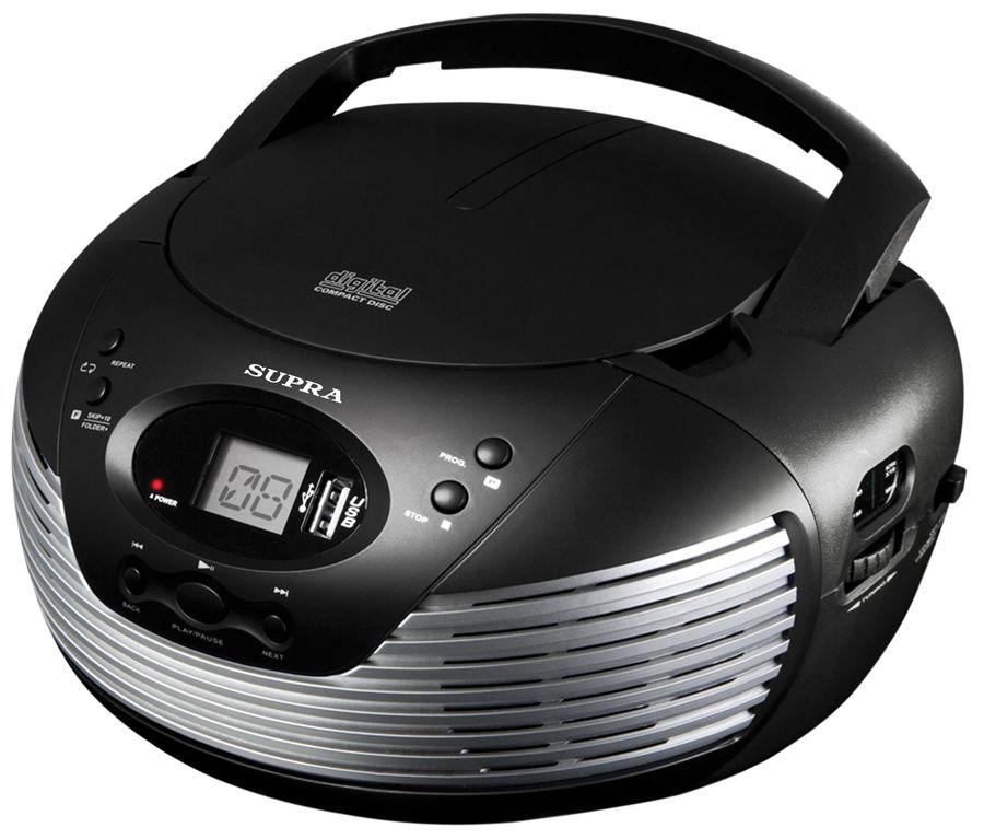 Аудиомагнитола SUPRA BB-CD120U,  черный и серебристый