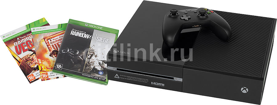Игровая консоль MICROSOFT Xbox One 1 Тб с играми Tom Clancy's Rainbow Six Siege, Rainbow Six Vegas и Rainbow Six Vegas 2,  KF7-00121, черный