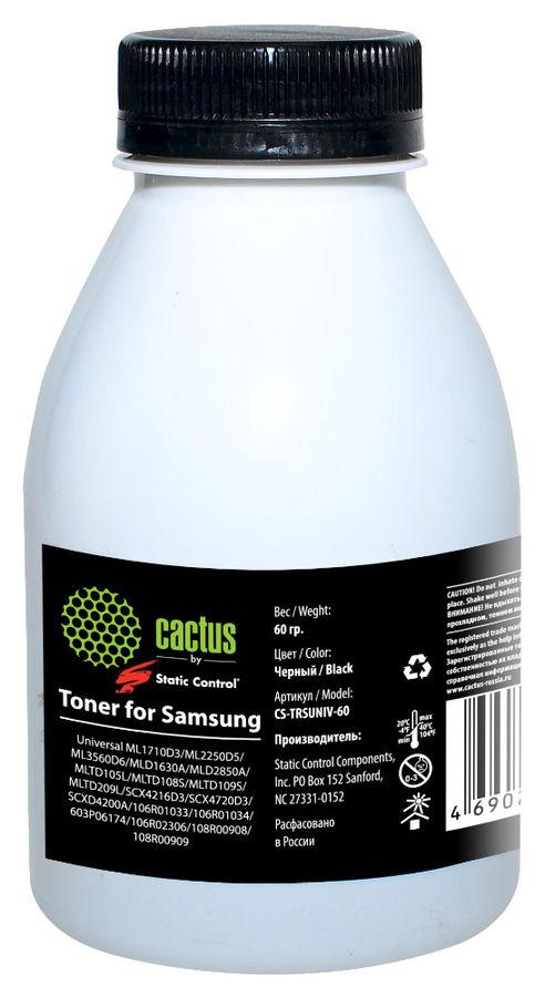 Тонер CACTUS CS-TRSUNIV-60,  для Samsung 1610/2010/SCX-4100/4200 (SCC),  черный, 60грамм, флакон