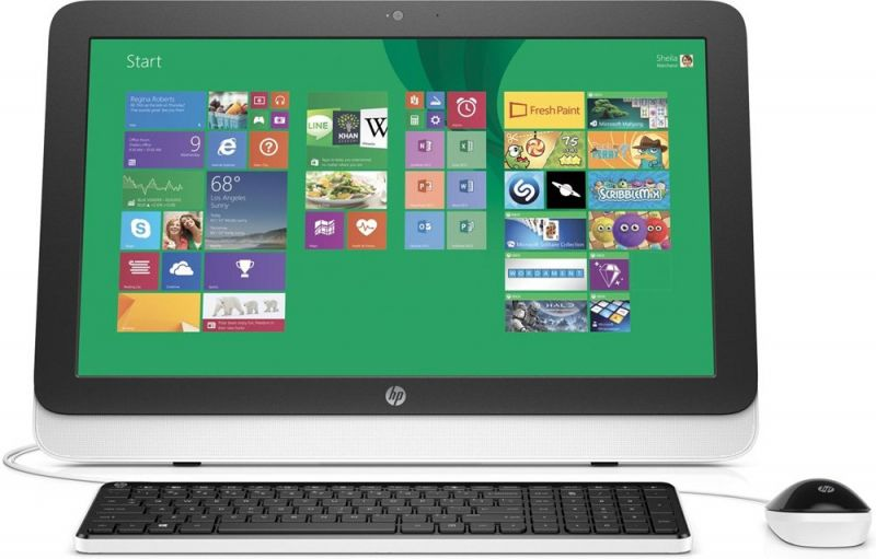 Моноблок HP 22-3100ur, Intel Celeron G1840T, 4Гб, 500Гб, Intel HD Graphics, DVD-RW, Windows 10, белый и черный [n8w38ea]