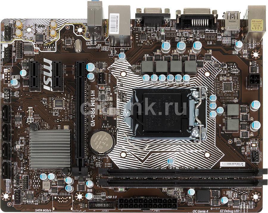 Материнская плата MSI H110M PRO-VD, LGA 1151, Intel H110, mATX, Ret
