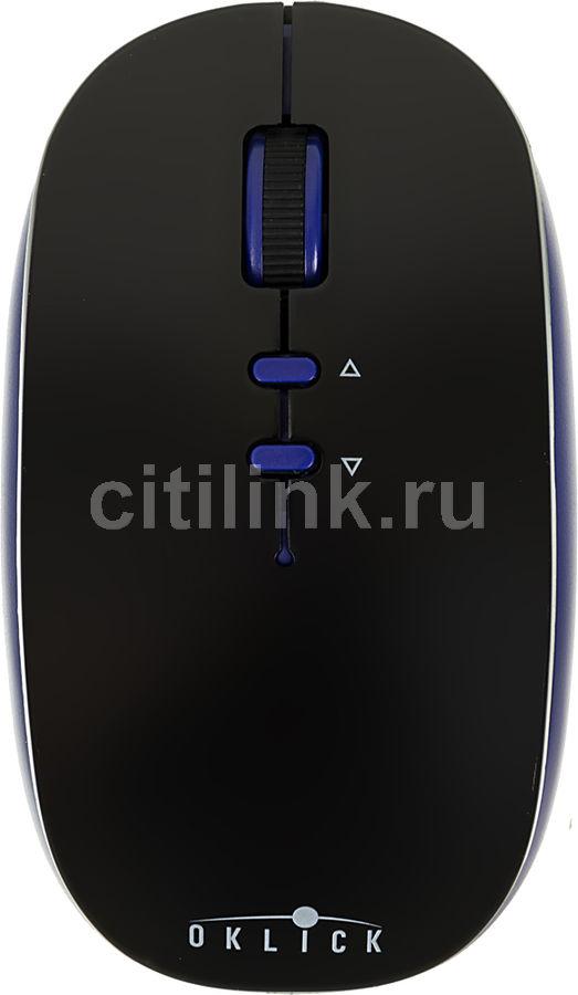 Мышь OKLICK 595MB, оптическая, беспроводная, черный и синий [tm-8900]