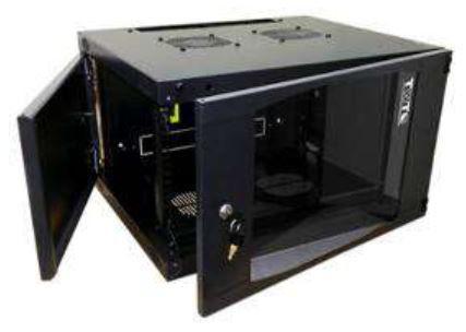 Шкаф настенный Lanmaster Next (TWT-CBWNG-6U-6X4-BK) 6U 550x450мм пер.дв.стекл съемные бок.пан. 60кг