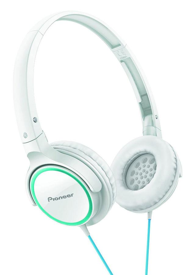 Наушники PIONEER SE-MJ512-GW, мониторы,  зеленый/белый, проводные