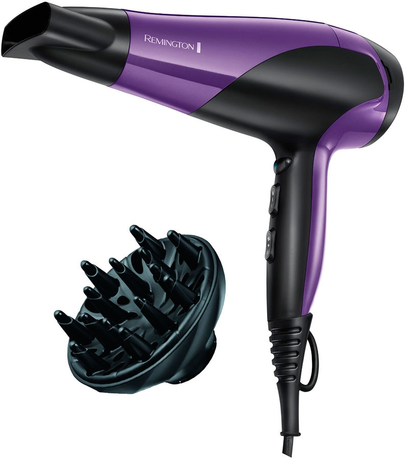 Фен REMINGTON D3190, 2200Вт, фиолетовый и черный фен remington keratin therapy pro dryer ac8000