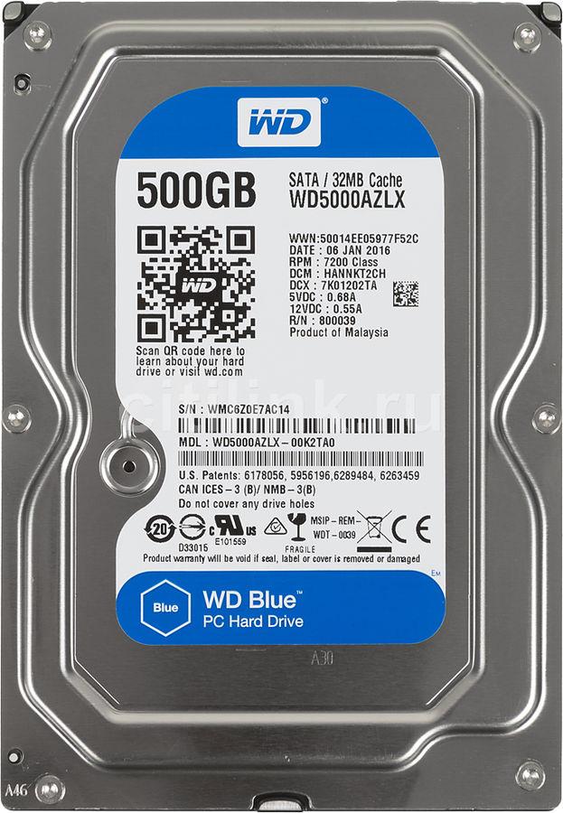 Жесткий диск WD Blue WD5000AZLX,  500Гб,  HDD,  SATA III,  3.5