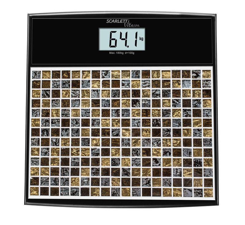 Весы SCARLETT SC-BS33E066, до 180кг, цвет: черный/рисунок
