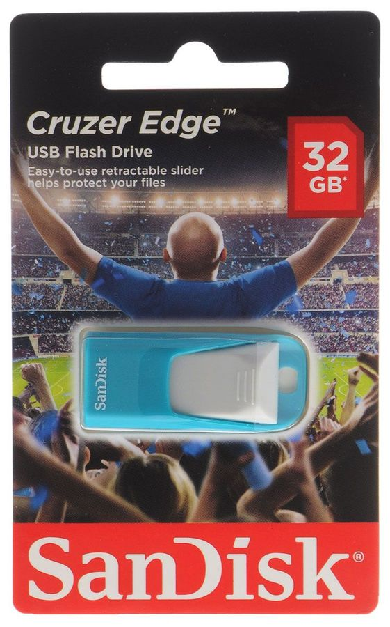 Флешка USB SANDISK Cruzer Edge EURO 2016 Football 32Гб, USB2.0, голубой [sdcz51-032g-e35bg]
