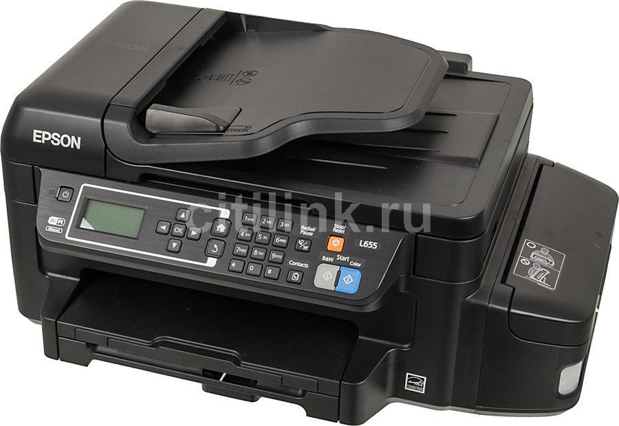 МФУ струйный EPSON L655, A4, цветной, струйный, черный [c11ce71403]