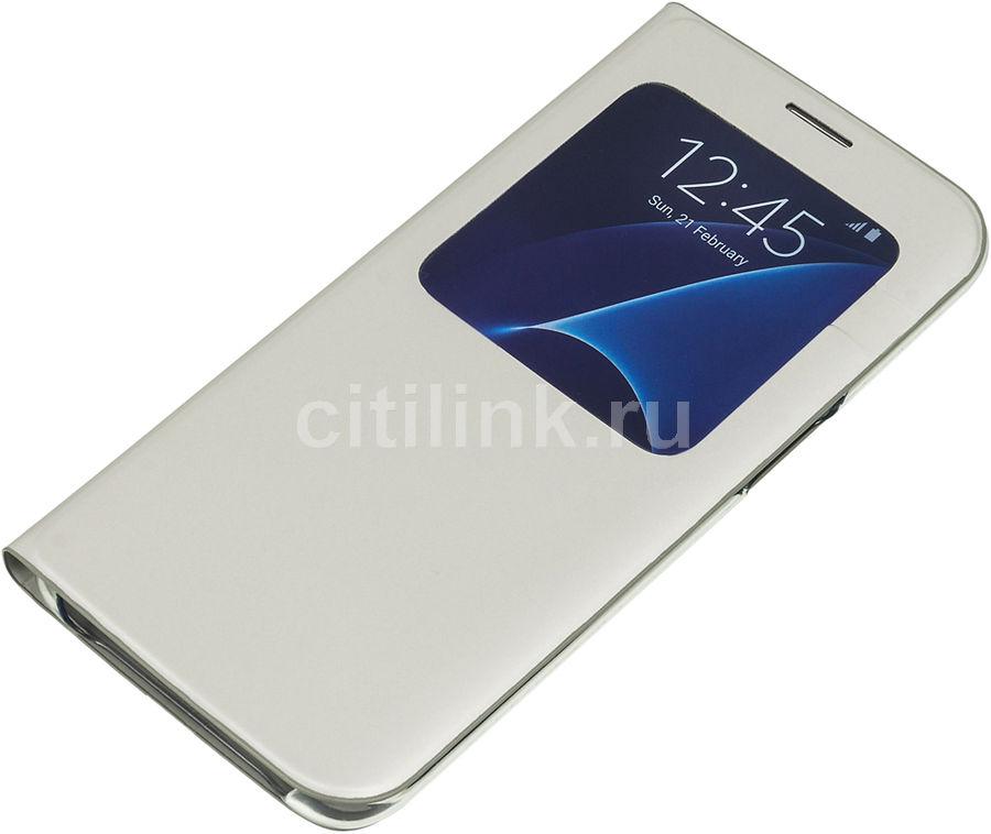 Чехол (флип-кейс) SAMSUNG S View Cover, для Samsung Galaxy S7 edge, серебристый [ef-cg935psegru]