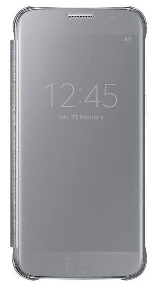 Чехол (флип-кейс) SAMSUNG Clear View Cover, для Samsung Galaxy S7, серебристый [ef-zg930csegru]