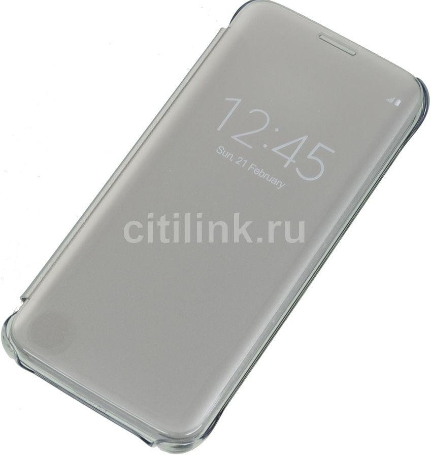 Чехол (флип-кейс) SAMSUNG Clear View Cover, для Samsung Galaxy S7 edge, серебристый [ef-zg935csegru]