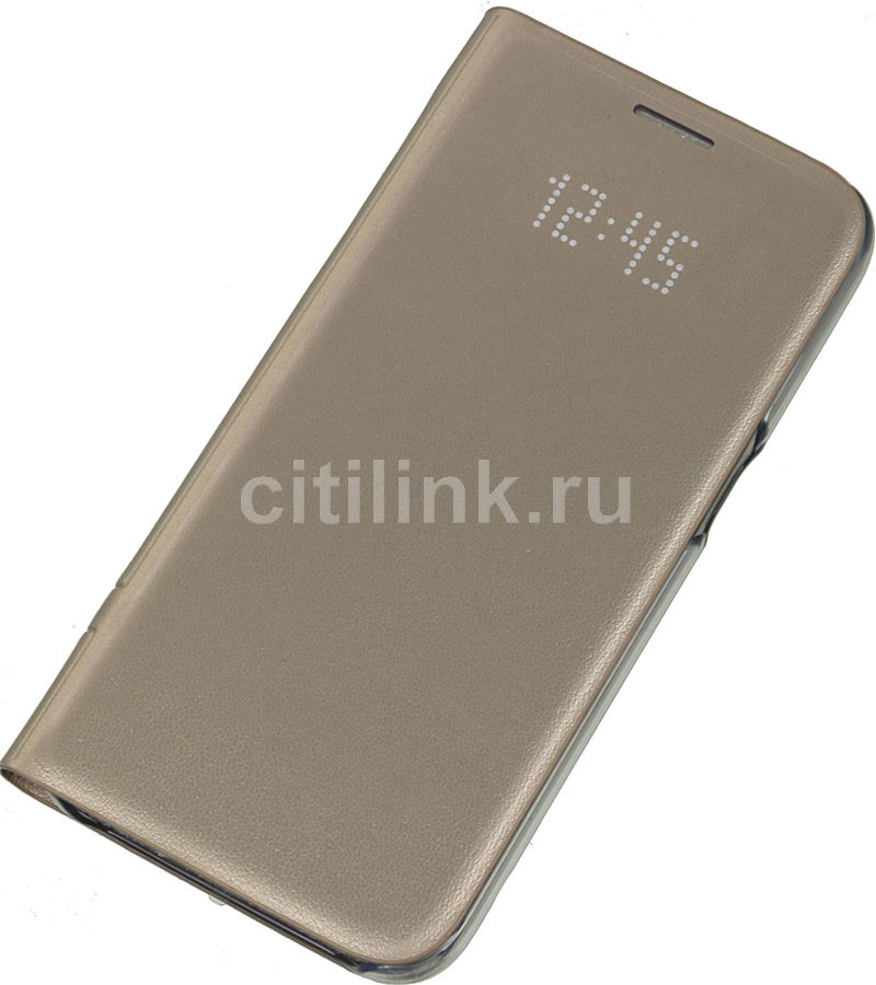 Чехол (флип-кейс) SAMSUNG LED View Cover, для Samsung Galaxy S7, золотистый [ef-ng930pfegru]