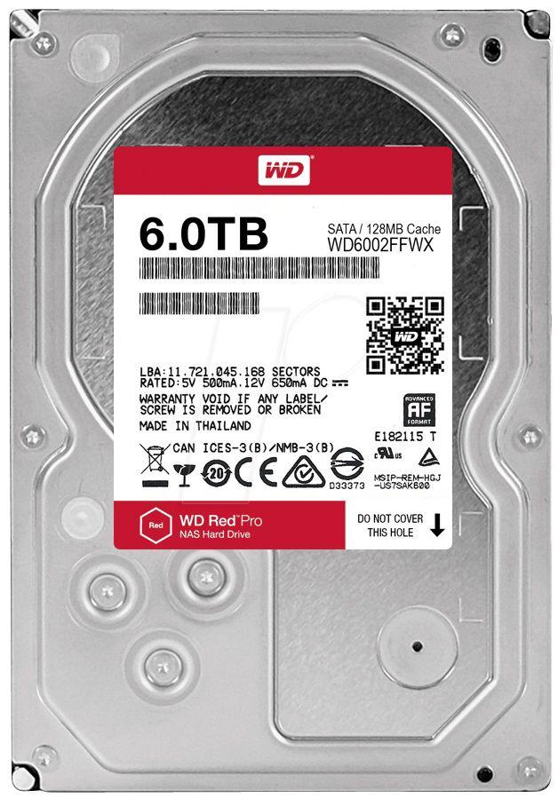 "Жесткий диск WD Red Pro WD6002FFWX,  6Тб,  HDD,  SATA III,  3.5"""