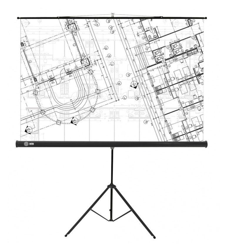 Экран CACTUS Triscreen CS-PST-127X127,  127х127 см, 1:1,  напольный белый